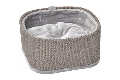 nanook Katzenbett/Hundebett / Katzenkorb Yoko mit Teppichrand, Sehr stabil, Plüschkissen - 44 x 44 cm - grau -