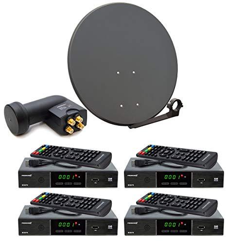 PremiumX Komplett 4 Teilnehmer Digital SAT Anlage Schüssel 80cm Antenne Spiegel Quad LNB 4X HDTV Digital Receiver inkl. HDMI-Kabel
