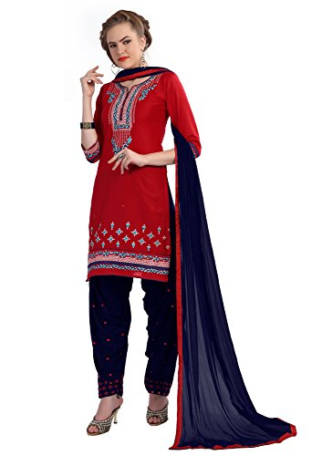 DynaBella dress material for women Cotton Patiala Salwar Suit Dress Material,Pink& Navy Blue Color(ND-3010)