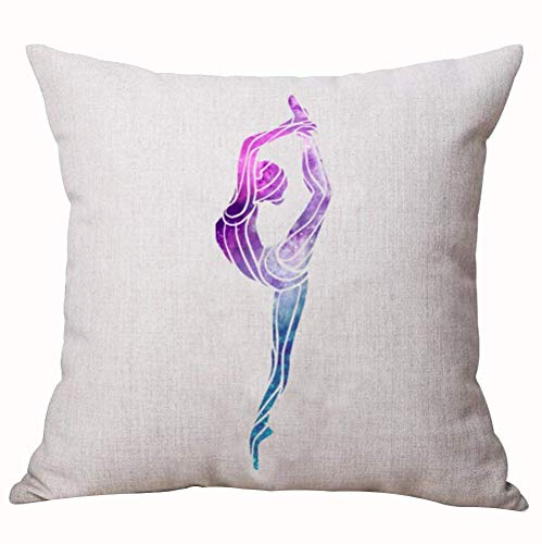 HiExotic Kissenbezug Handmade National Sports Olympic Games Gymnastics Beautiful Elegant Yoga Colorful Sky Flowers Streamer Ball Decorative Home Office Throw Pillow Case Cushion Cover Square 18X18 Inc -