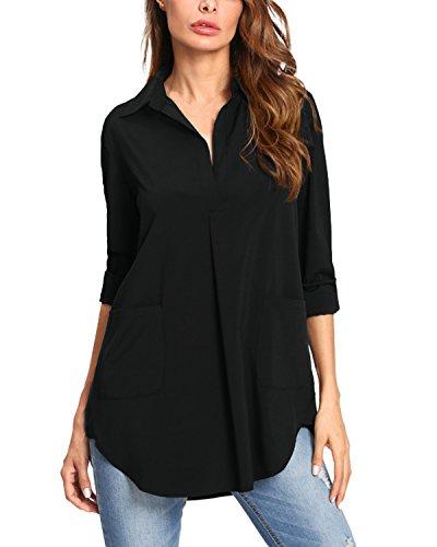 Kidsform Women Button Down Shirts Long Sleeve Vertical Solid Causal Work Shirt Blouse Tops