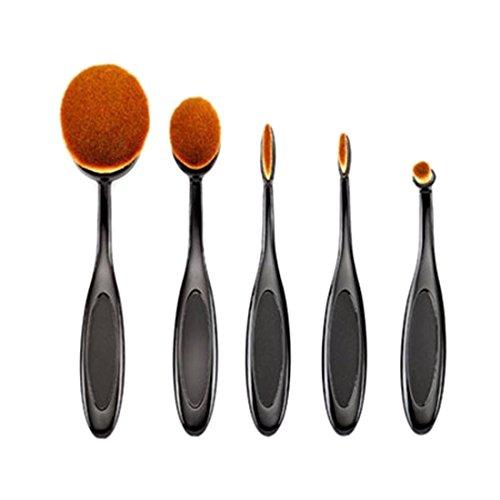 Ovale Brosse Sourcils - TOOGOO(R)5pcs/Ensembles Brosse Sourcils Fondation Eyeliner Levre Ovale Brosses Noir