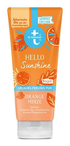 Tetesept Aroma-Dusche Hello Sunshine, Duschgel mit erfrischender Duftkomposition nach Orange und Minze - Pflegedusche vegan - 1er Pack (1 x 200 ml)
