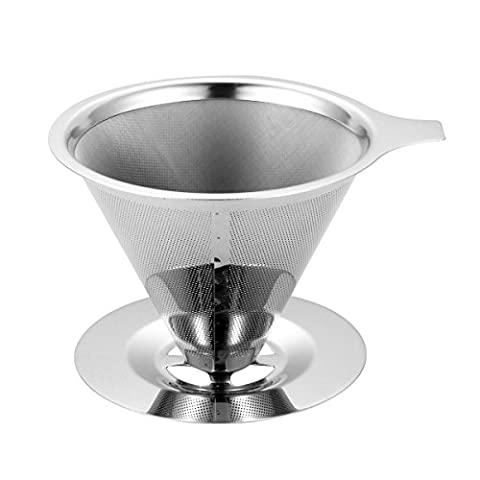 Machine à café filtre, Og-evkin verser sans papier SE Trouve Plus de en acier inoxydable réutilisable Drip Cône filtre à café avec support de tasse