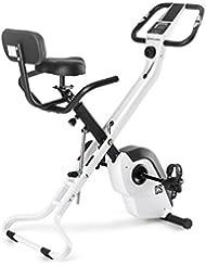 CAPITAL SPORTS Azura X1 bicicleta estática plegable (4 kg de masa oscilante, asas laterales, pulsómetro, 8 niveles de resistencia, monitor de entrenamiento) - blanco