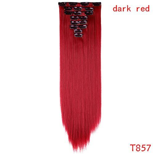 Haarteil 23 Zoll 180G Gerade 18 Clips Im Haar Styling 100% Echte Synthetische Haarverlängerungen 8 Teile/satz Cosplay Erweiterung #130 24Inches - Outre-haar-erweiterungen
