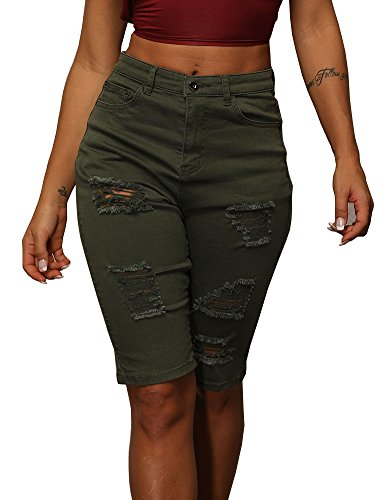 Uoohal Women's Knee Length Cut Off Denim Shorts Distressed Ripped High Waist Jeans Shorts