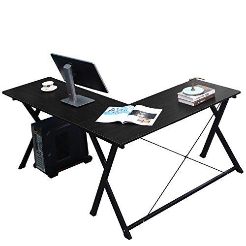 ecktisch holz DlandHome L-Förmigen Computer Schreibtisch 120cm + 110cm, Komposit Holz und Metall, Home Office PC Laptop Studie Workstation Ecktisch mit CPU-Ständer, Black
