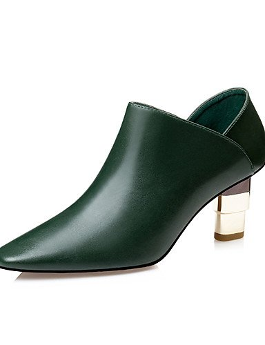 CU@EY Da donna-Stivaletti-Formale-Stivaletto-Quadrato-Finta pelle-Nero / Verde / Borgogna green-us6 / eu36 / uk4 / cn36