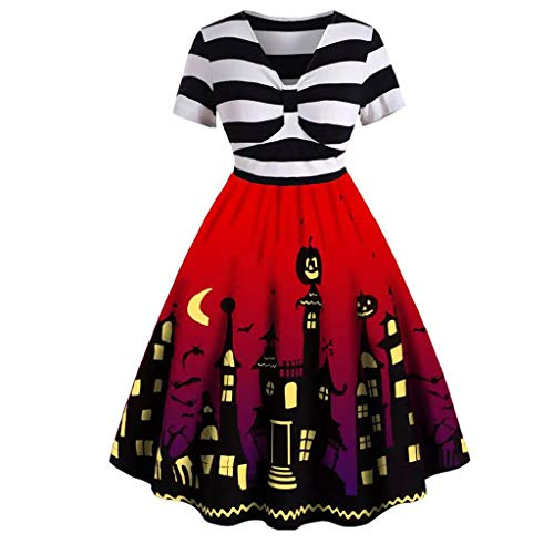 Halloween Kostüm Damen Vintage Retro A-Linie Bedruckte Kleider Knielang Kurzarm V-Ausschnitt Knoten Empire Einteiler Party Maskerade Mottoparty Partykleider Karneval (2XL, - Alle Verschiedenen Batman Kostüm