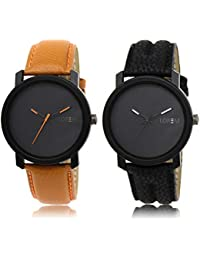 Lorem Stylish LK20-21 Black-Orange Analog Watches For Men And Boys