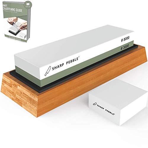Premium Wetzstein 2 Seitenkorn 3000/8000 Wetzstein | Bester Messerschärfstein | Wassersteinschärfer | Küchenmesserschärfer | Anti-Rutsch-Bambus Base & Flattening Stone