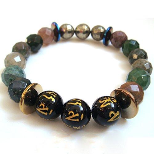 Naturale sfaccettato India agata Pirite tibetano 6parole preghiera pietra braccialetto di energia amuleto Confezione Regalo