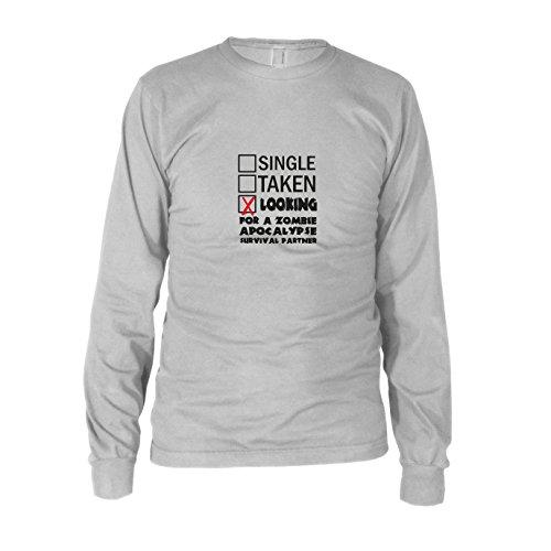Looking for a Zombie Apocalypse Surival Partner - Herren Langarm T-Shirt, Größe: XL, Farbe: weiß