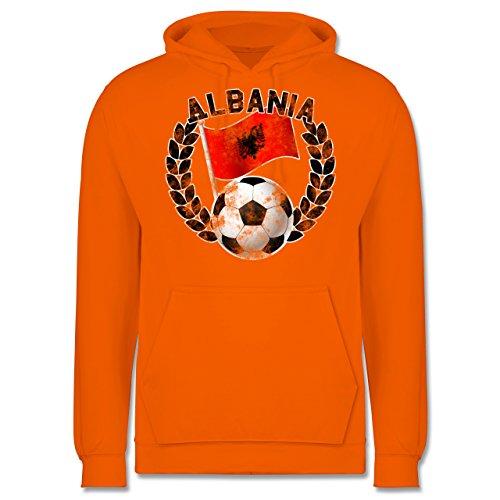 EM 2016 Frankreich Albania Flagge Fußball Vintage Männer Premium  Kapuzenpullover / Hoodie Orange