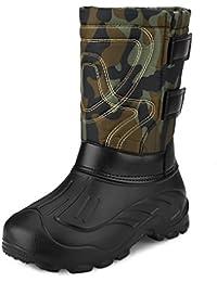Sibba Botas de Nieve Hombre, Calzado de Senderismo, Cordones de Nylon Sólido, Botas de Nieve Lluvia para el Invierno, Botas Abrigadas con Lana Desmontable