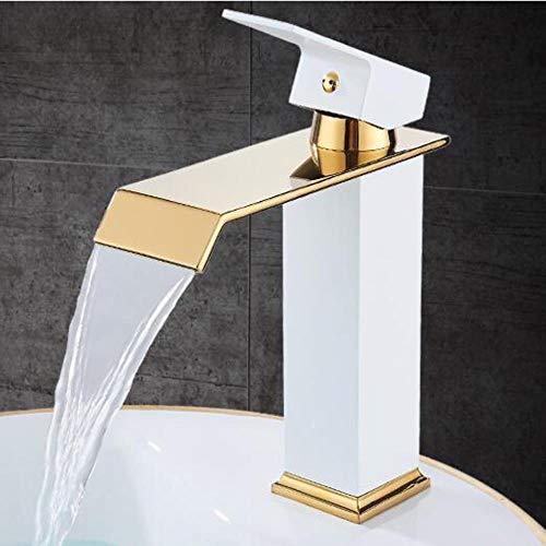 Kai&Guo Bad Wasserhahn warm und kalt Quadrat Messing Becken Wasserhahn Wasserfall Waschbecken Wasserhahn Einhebel Armatur, Weiß und Gold (Delta Bad Armatur Gebürstet)