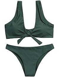 Banadores mujer sexy,Morwind mujer anudadas bikini tanga acolchado mid traje de baño de playa de cintura cucharada