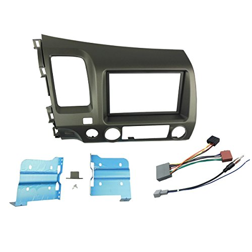 DKMUS Double Din Radio Stereo Dash Install Mount Trim Kit for Honda Civic 2006-2011 with Wiring Harness Antenna Adapter