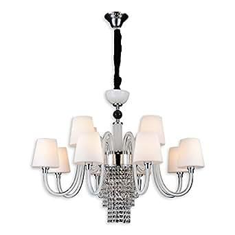 Luxus-designer suspension lampe suspension design 12 ampoules cristal esstischbeleuchung suspension verre opale