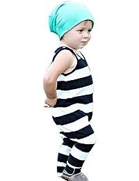 Koly 0-2 años Recién nacido Unisex Bebé sin mangas rayado Romper Jumpsuit trajes