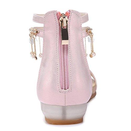 Modische Bequeme Sommer Damen Kühle Sandalen Dicke Sohle Keilabsatz Einfache Slip-on Römische Stil Schmale Band mit Metallquaste Pink
