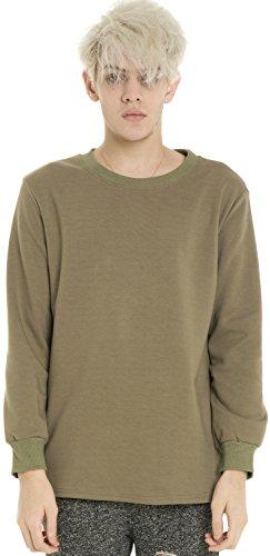 Pizoff Unisex Hip Hop Urban Basic Langärmliges Lang Geschnittener Jersey Sweat T-Shirt mit Abgerundeter Saum Y1195-khaki-XL (Tee Design-khaki T-shirt)