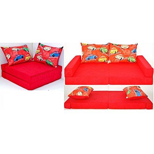 KK D11 rot-Autos Kindersofa Kindermatratze Sitzkissen Spielsofa Minicouch Set + 2 Kissen (KK D11 (rot-Autos))