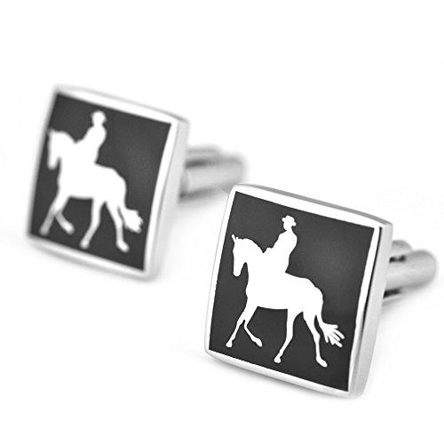PenSee Luxury Gemelli in acciaio Inox e smalto nero-Gemelli da uomo, con confezione regalo, Horseback Riding