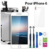 Ecran iPhone 6 Blanc 4,7' LCD Vitre Tactile Complet sur Châssis avec Outils de Réparation Bouton Home Caméra Frontale Capteur de Proximité Haut-Parleur et Ecran Protecteur Tout Assemblé