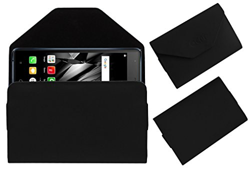Acm Premium Flip Flap Pouch Case For Micromax Canvas 5 Lite Q462 Mobile Leather Cover Black  available at amazon for Rs.179