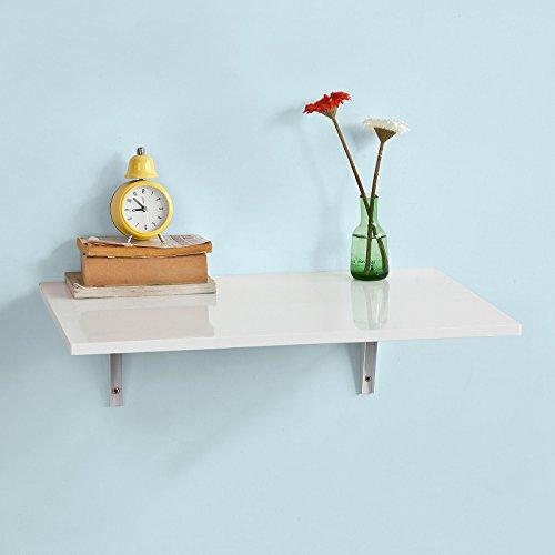 Uhren Oder Schreibtisch Kleiner Tisch (SoBuy® FWT21-W Wandklapptisch Klapptisch Esstisch Küchentisch aus MDF weiß (60x40cm))