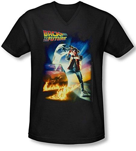 Back To The Future - - Männer Poster mit V-Ausschnitt T-Shirt Black