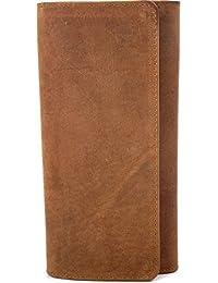 URBAN FOREST, Cntmp, Leder, Damen Geldbörse, Damen Portemonnaie, Damen Börse, Brieftasche lang, Überschlagsbörse, Querformat, Echt Leder, Natur-Leder, 20x10x3cm (BxHxT)