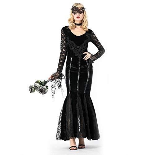 Kleid Ball Kostüm Masquerade - YRE Karneval Schwarze Spitze Vampir Earl, Rollenspiel Tuxedo Kleid Kostüm, Masquerade Ball Kostüm,M