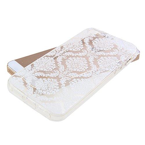 Kakashop iPhone 5C Silicone Etui Case Cover Transparent Crystal Clair Doux TPU, Rétro Fleur Peinture de Style Soft Gel Retour Housse Coque pour iPhone 5C(tournesol 2) fleur labyrinthe