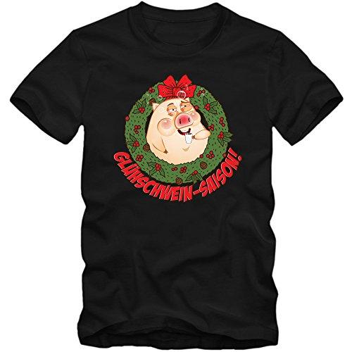 Glühschweinsaison T-Shirt | Glühwein | Alkohol | Weihnachten |Weihnachtsmarkt | Frohes Fest | Herrenshirt © Shirt Happenz Schwarz (Deep Black L190)