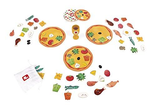 Janod J02782 Speed Pizza Geschwindigkeitsspiel, mehrfarbig, 15 cm Pizzas and 10 cm Cards