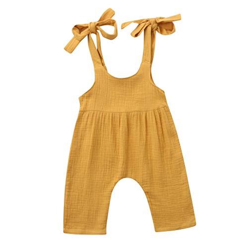 JUTOO Sommer Kleinkind Neugeborenen Kinder Baby Jungen Mädchen Einfarbig Spielanzug Overall Kleidung (Gelb 2,100)