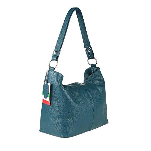 OBC Made in Italy Echt Pelle Borsetta Da Donna Shopper Borsa A Tracolla borsa Borsa con manici IPad mini Tablet fino 10 Pollici 28x24x14 cm (BxHxT) - Bordo, Donna, 28x24x14 cm (BxHxT) Petrolio
