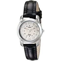 Timex Classic Ladies Quartz Watch with White Dial Analogue Display and Black Leather Strap - T2N435PF