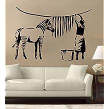 Banksy de pared Art–Zebra libre rasqueta. Vinilo adhesivo transferencia Mural grande, negro, Large - (w) 89cm x (h) 60cm