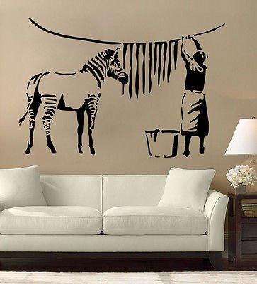 Banksy Wand-Tattoo, Zebra-Motiv, Vinyl-Wand-Aufkleber, Wandbild, groß, schwarz, Large - (w) 89cm x (h) 60cm (Tattoo Zebra)