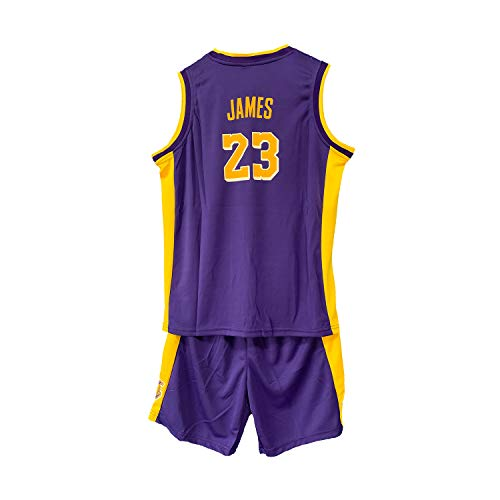 WELETION Kinder Trikot Lakers James Nr. 23 Jersey Basketball Shirt Weste Top Shorts für Jungen und Mädchen(Violett,M)