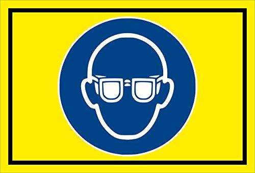 Melis Folienwerkstatt Aufkleber - Gebots-zeichen - Augen-schutz benutzen - entspr. DIN ISO 7010/ASR A1.3 - 15x10cm - S00361-007-C +++ in 20 Varianten erhältlich