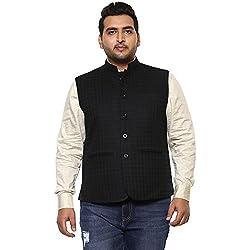 John Pride Men Black Coloured Nehru Jacket (Sizes: 2XL- 5XL)