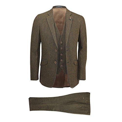 Cavani Mens Brown 3 Piece Wool Blend Herringbone Tweed Suit Vintage Smart Formal Slim Fit
