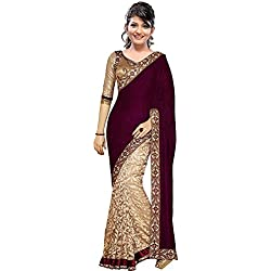Today Best Deal with Offer in Sarees Amazon Prime by RTHb for Womens Wear Latter Designer Blouse Free Size Velvet in Party & Festival Wear Sari(Red_Free Size_Saree_Marron Velvet)