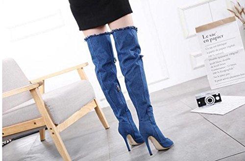 Sandali cowboy cristallo di charme 11 cm Chunky Heel Peep Toe Casual femminile Tubo Stivali alti UE taglia 35-40 Blue