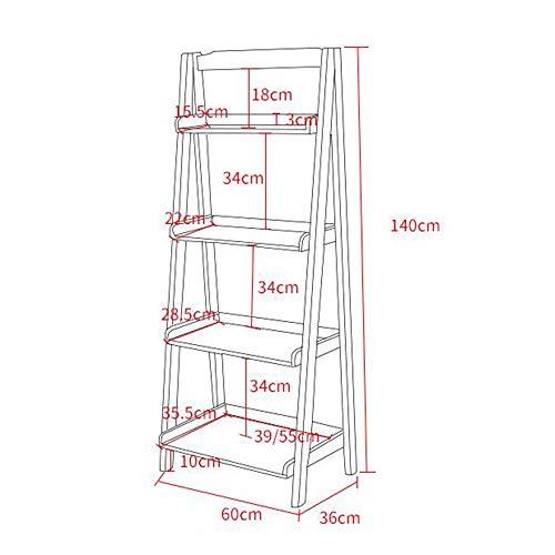 MDD Regal Bücherregal, freistehender Leiterrahmen, stabiler Metallrahmen, viel Stauraum Platz sparend und einfach zu installieren,Nussbaum,60CM -